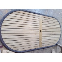Oval Tabletop, slatted with Woven Border, Multiple Sizes