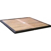 Square tabletop, slatted with Woven Border, Multiple Sizes